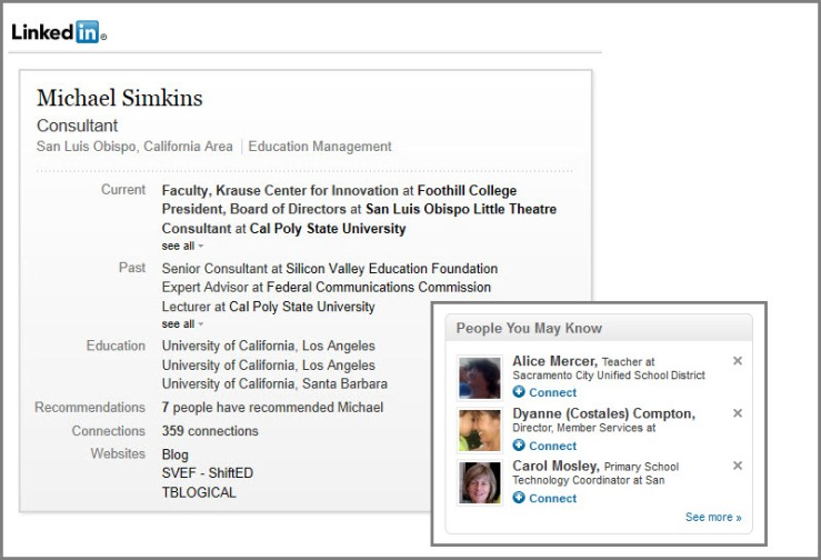 "Screenshot of my LinkedIn profile with overlay of typical ""You might know"" suggestions."
