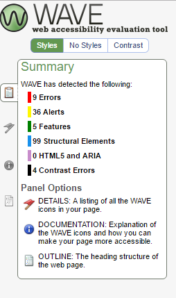 Screen shot of WAVE summary of Foothill College Accessibility and Univeral Design page