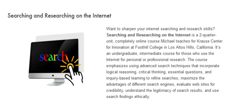 Clipping from Searching and Researching course description.